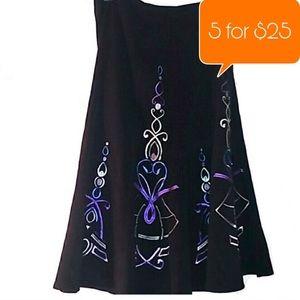Sunny Leigh Black embroidered a-line midi skirt